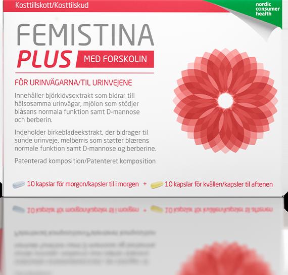Förpackning Femistina Plus vid urinvägsbesvär.
